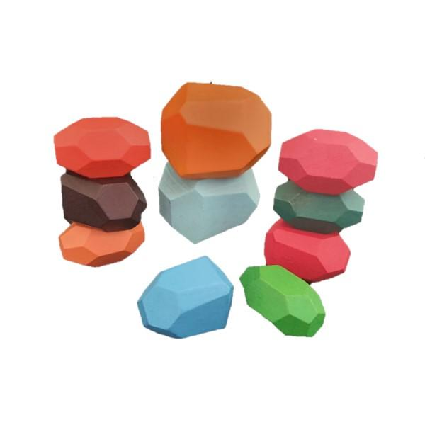 10pc Wooden Stone Shape Stacking Blocks - Multicolor- Latest product from 4aKid