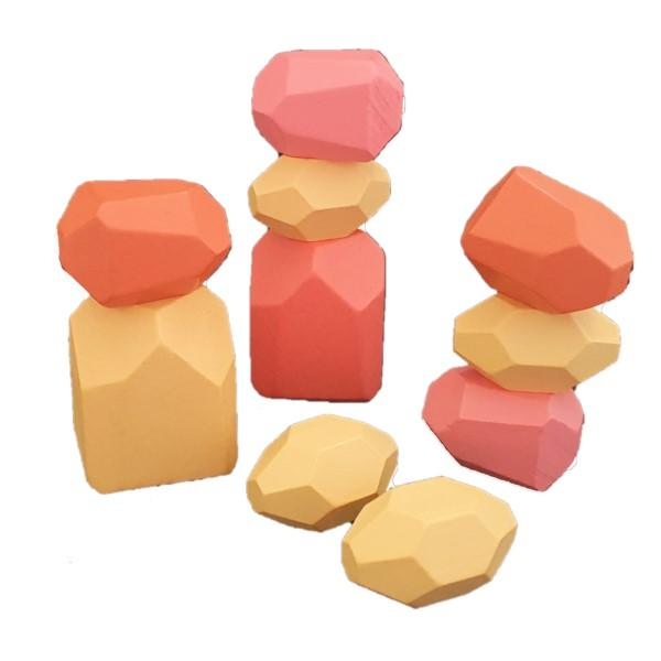 10pc Wooden Stone Shape Stacking Blocks - Natural- Latest product from 4aKid