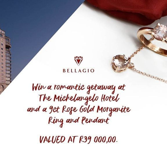 One lucky couple will win a romantic getaway at The Michelangelo Hotel and a 9ct Rose Gold Morganite Ring and Pendant, valued at R39 000,00: https://bellagiojewellers.co.za/competition/ #bellagiomyvalentine  https://www.instagram.com/p/B75H9kDJf78/