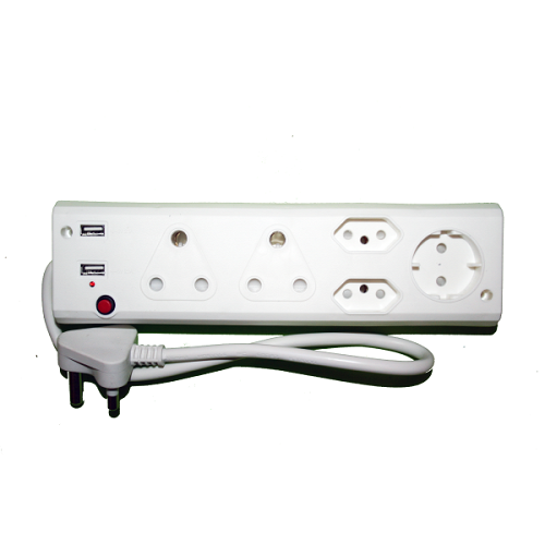 Alphacell 5 Way Multiplug - 2x16A, Schuko, 5A, 2x2 USB- latest product from 4aKid