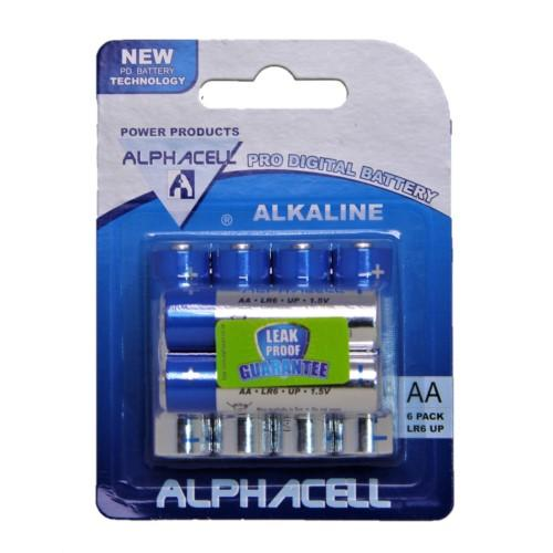 Pack of 6 Alphacell Pro Alkaline AA Battery - 6pc- latest product from 4aKid