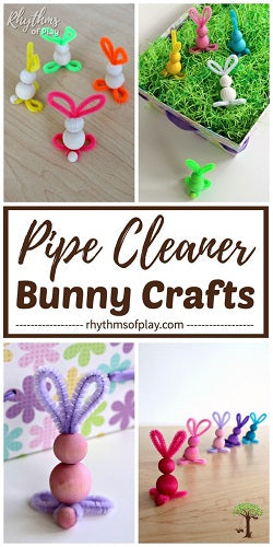 Easy Bunny Craft - PIPE CLEANER BUNNY WITH WOODEN BEADS