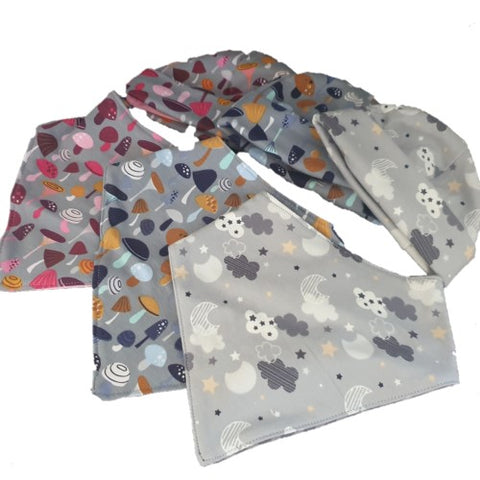 3 assorted grey baby beanie and bib sets in assorteded designs.