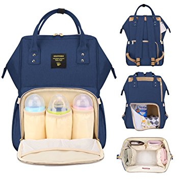 A navy backpack nappy bag. The image shows the front pocket of the bag open with 3 baby bottle inside. On the right it shows the back of the bag closed and open. The bottom right shows an image of the bag open from the top looking inside.