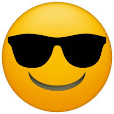 smiley emoji wearing black sunglasses