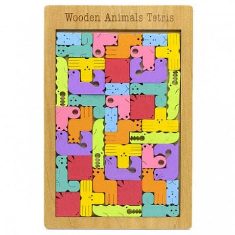 Wooden animal tetris game.