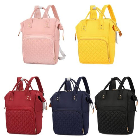 Assorted colour quilted nylon backpack baby bags.