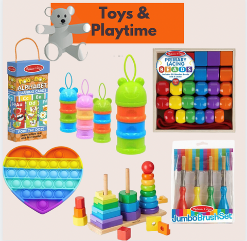 lots of assorted toddler toys on a page