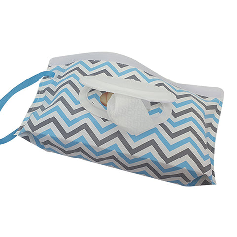 Blue & Grey Zigzag Reusable Wet Wipes Pouch with nylon strap.