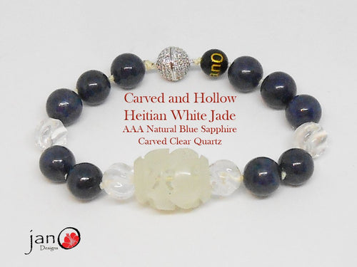 Carved Hetian Jade with AAA Natural Blue Sapphires - Healing Gemstones