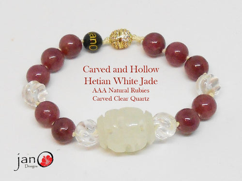 Carved Hetian Jade with AAA Natural Rubies - Healing Gemstones