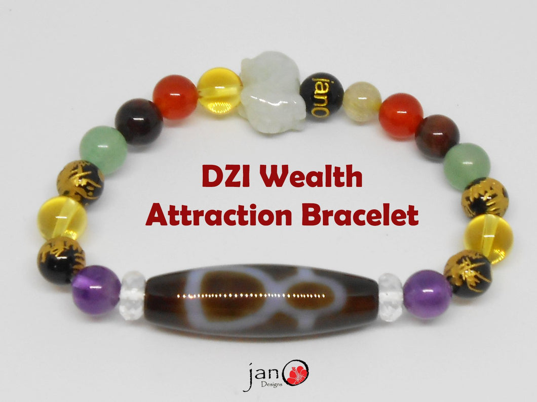 God of Fortune DZI Wealth Attraction Bracelet - Healing Gemstones