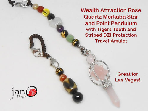 Wealth Attraction Pendulum- Rose Quartz with Tigers Teeth & Striped DZI Travel Protection Amulet - Healing Gemstones