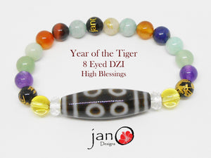 2019 Feng Shui DZI Bracelet - Year of the Tiger - 8 Eyed DZI