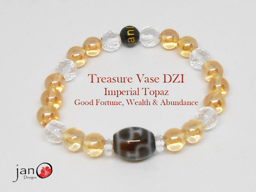Treasure Vase with Imperial Topaz Wealth Bracelet - Healing Gemstones