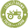 Locally grown, fresh from the farm label