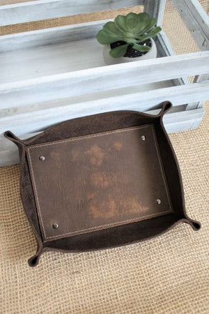 Leather Trays / Bowls: Monogram Personalized Chocolate Brown Large Leather Valet Tray
