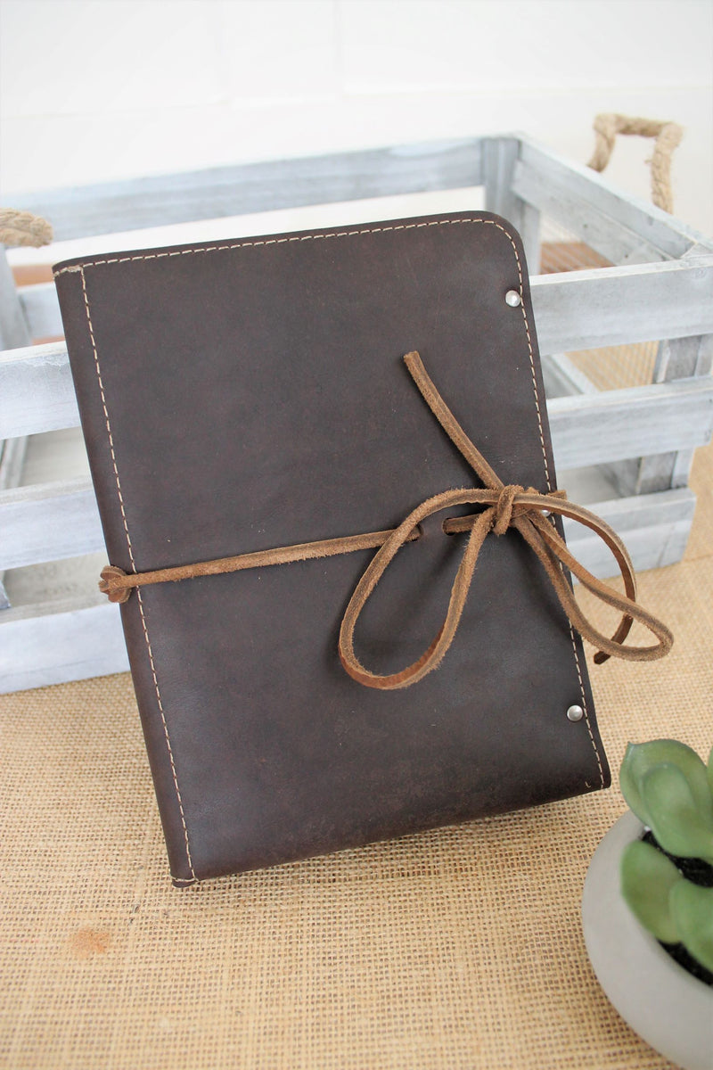 Monogrammed Chocolate Brown Leather iPad Case
