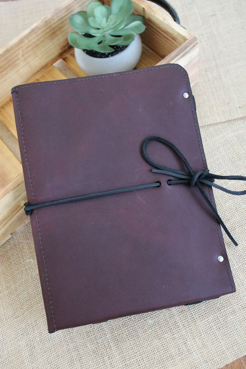 Monogram Personalized Burgundy Leather iPad Case