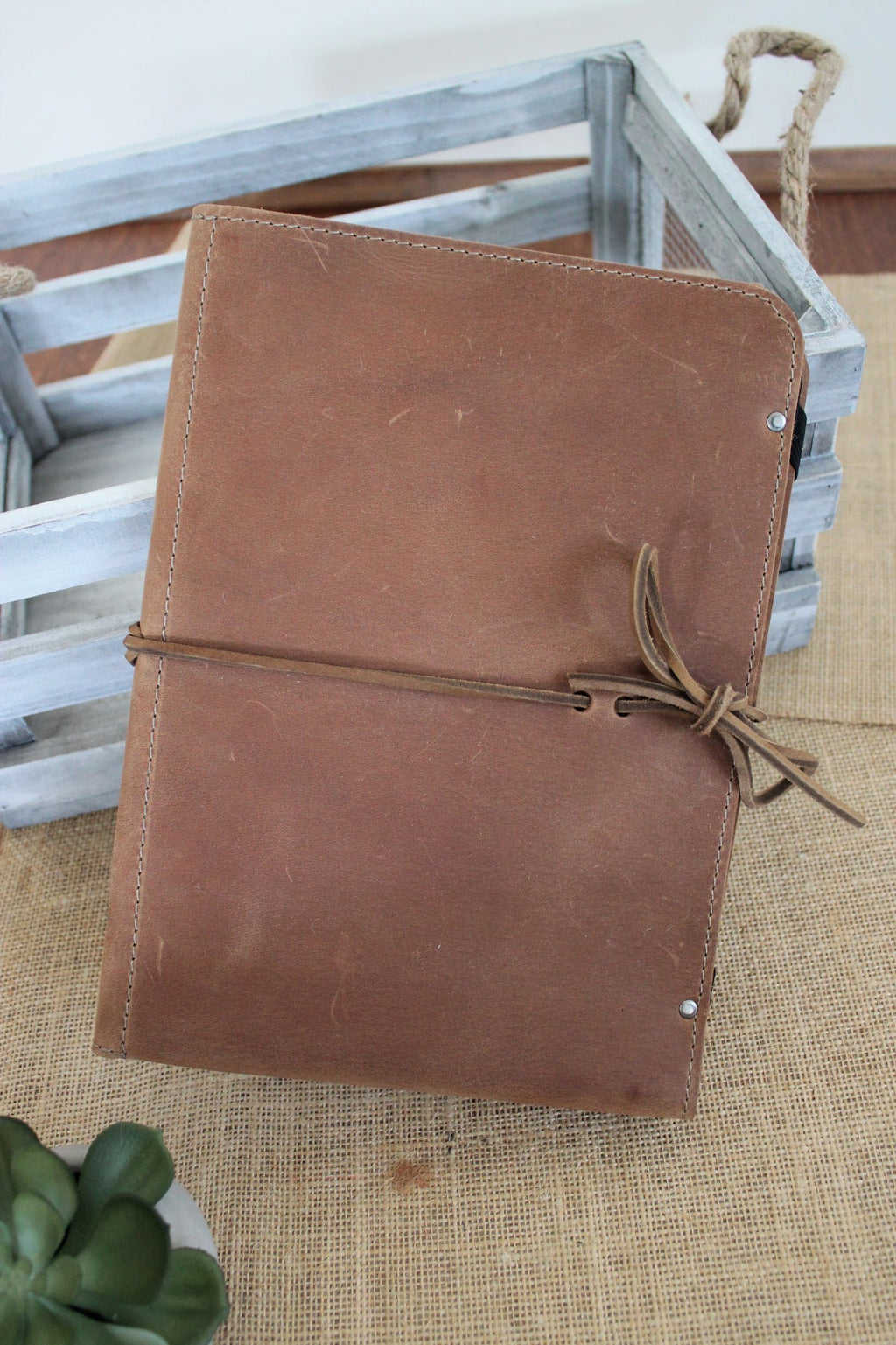 Monogram personalized leather iPad cases handmade in our leather store in Beaverton, Oregon