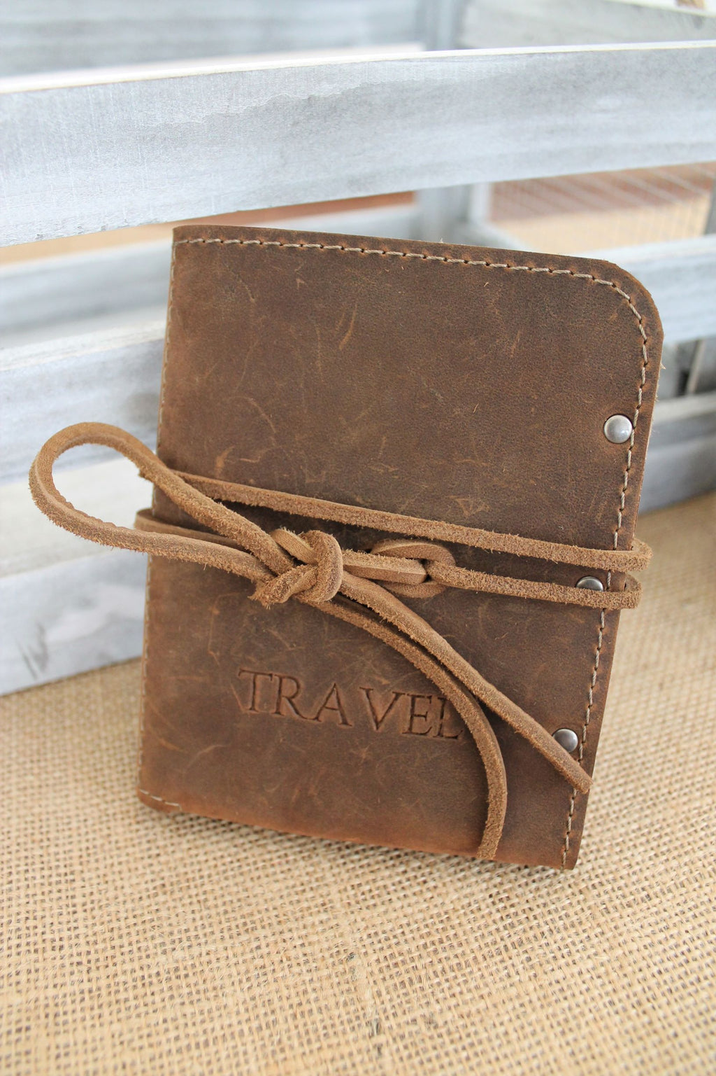 Monogram Personalized Distressed Brown Leather Passport Holder