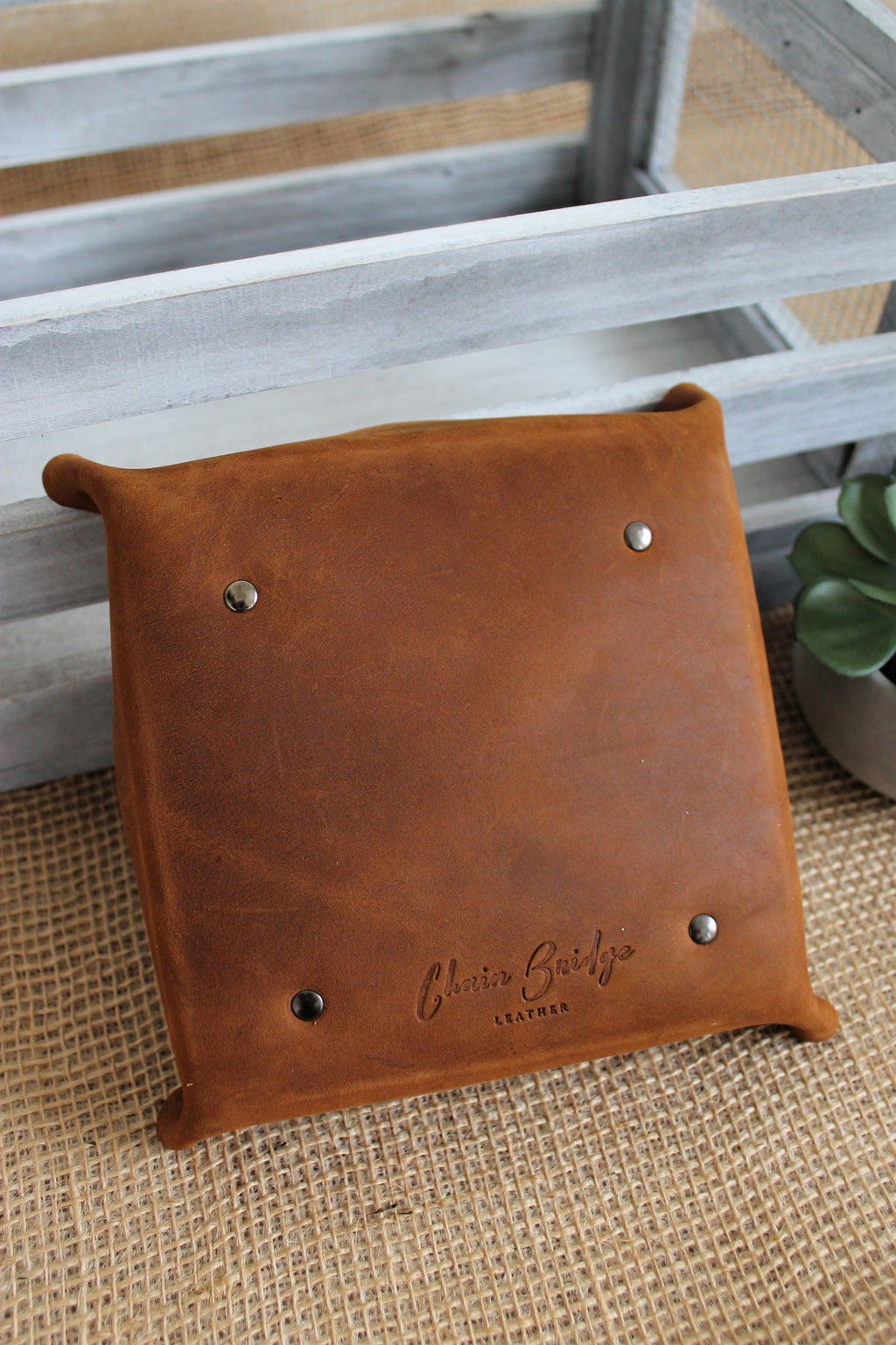 Personalized Leather Items: Monogram Personalized Small Saddle Brown Leather Valet Tray