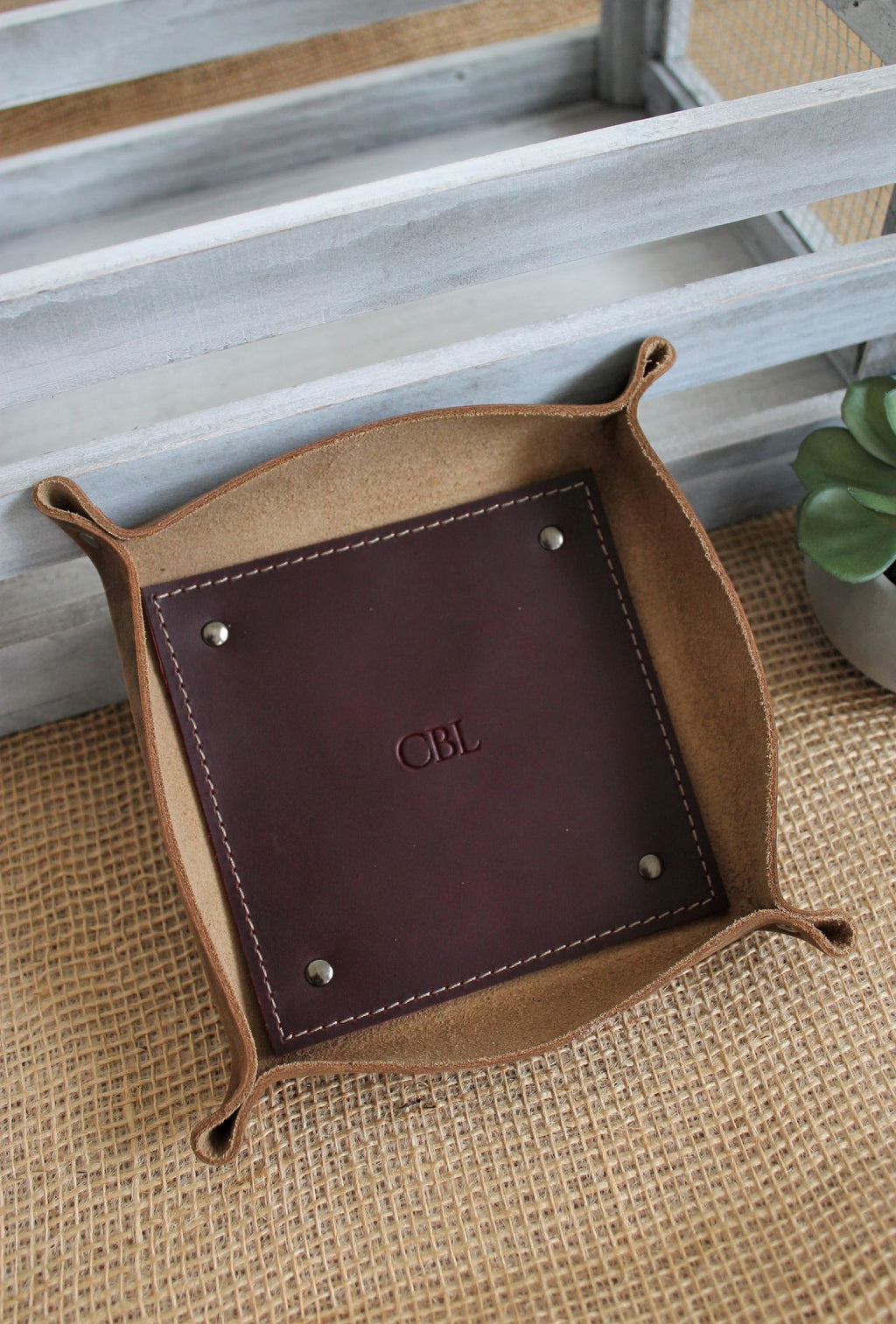 Leather store: Monogrammed small leather valet tray
