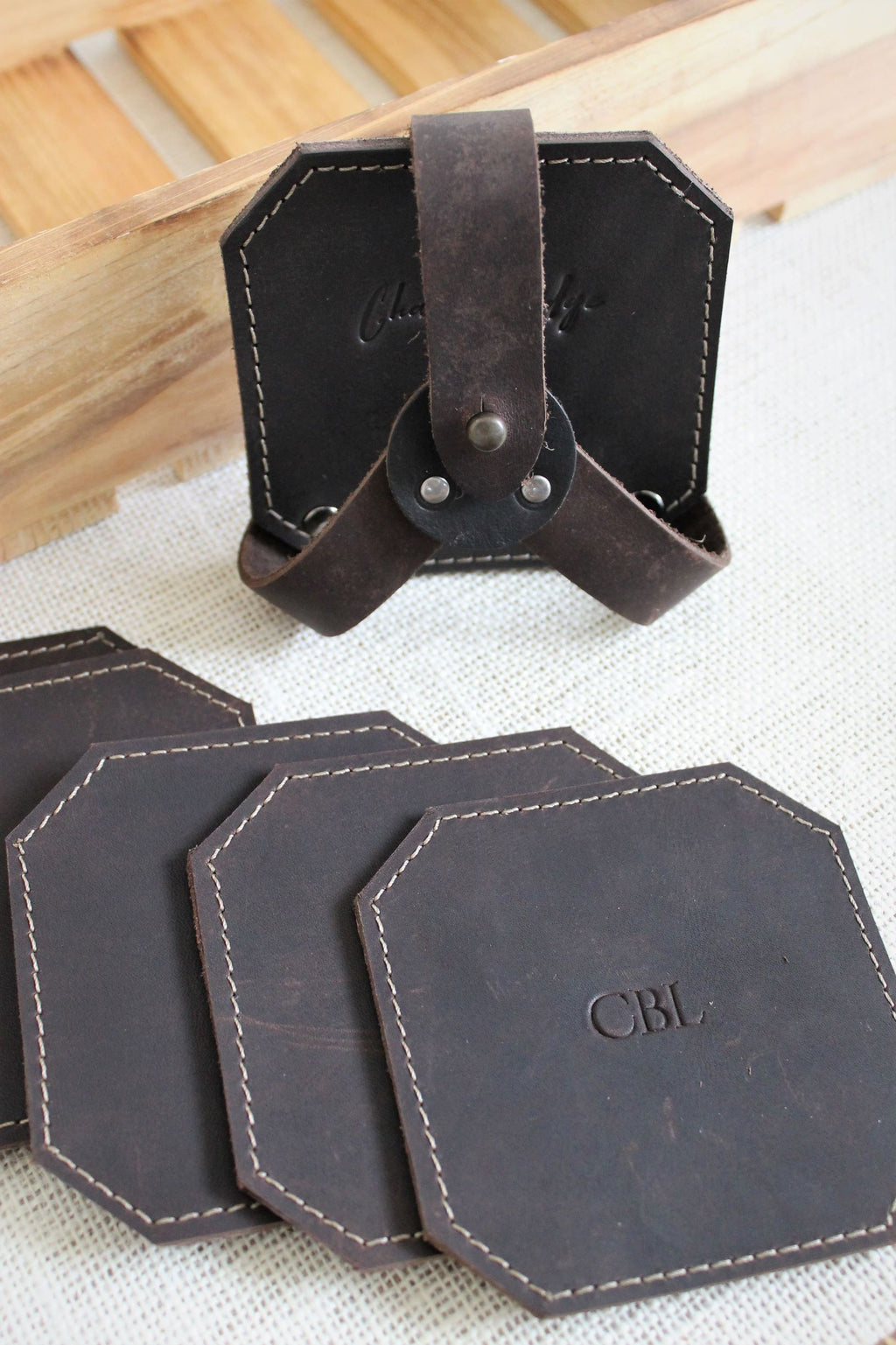 Leather store: Monogram Personalized Leather Coaster Set of 6 with stand