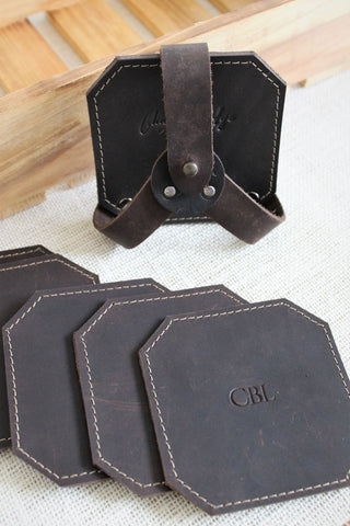 Monogram Personalized Distressed Brown Leather Luggage Tag