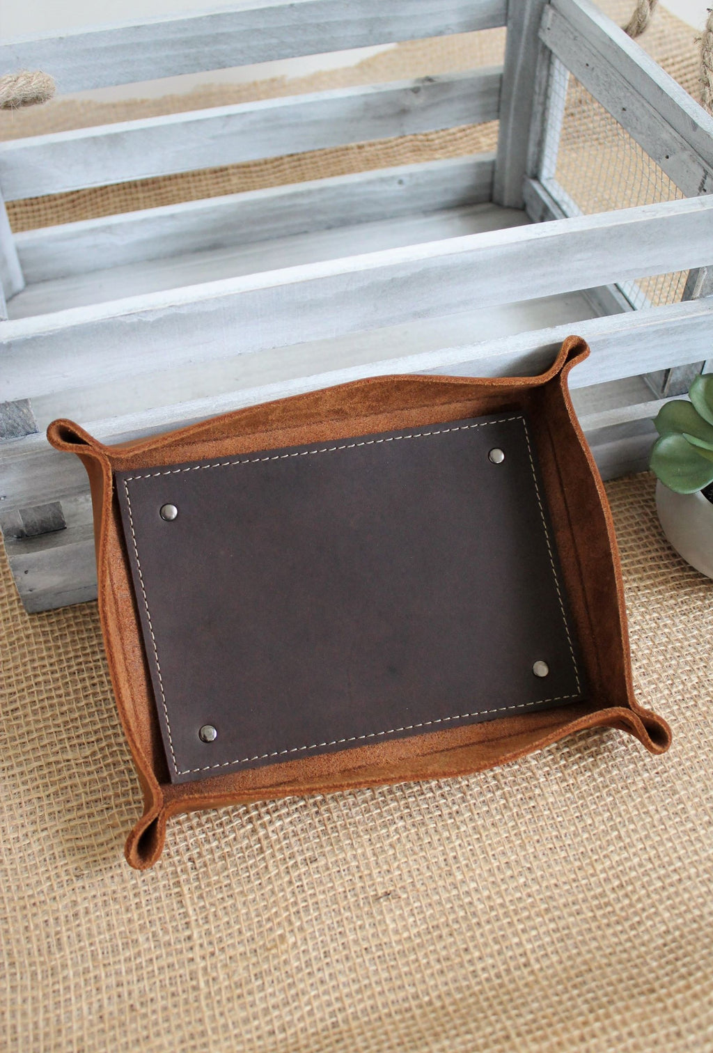 Leather store: Monogrammed large leather valet tray