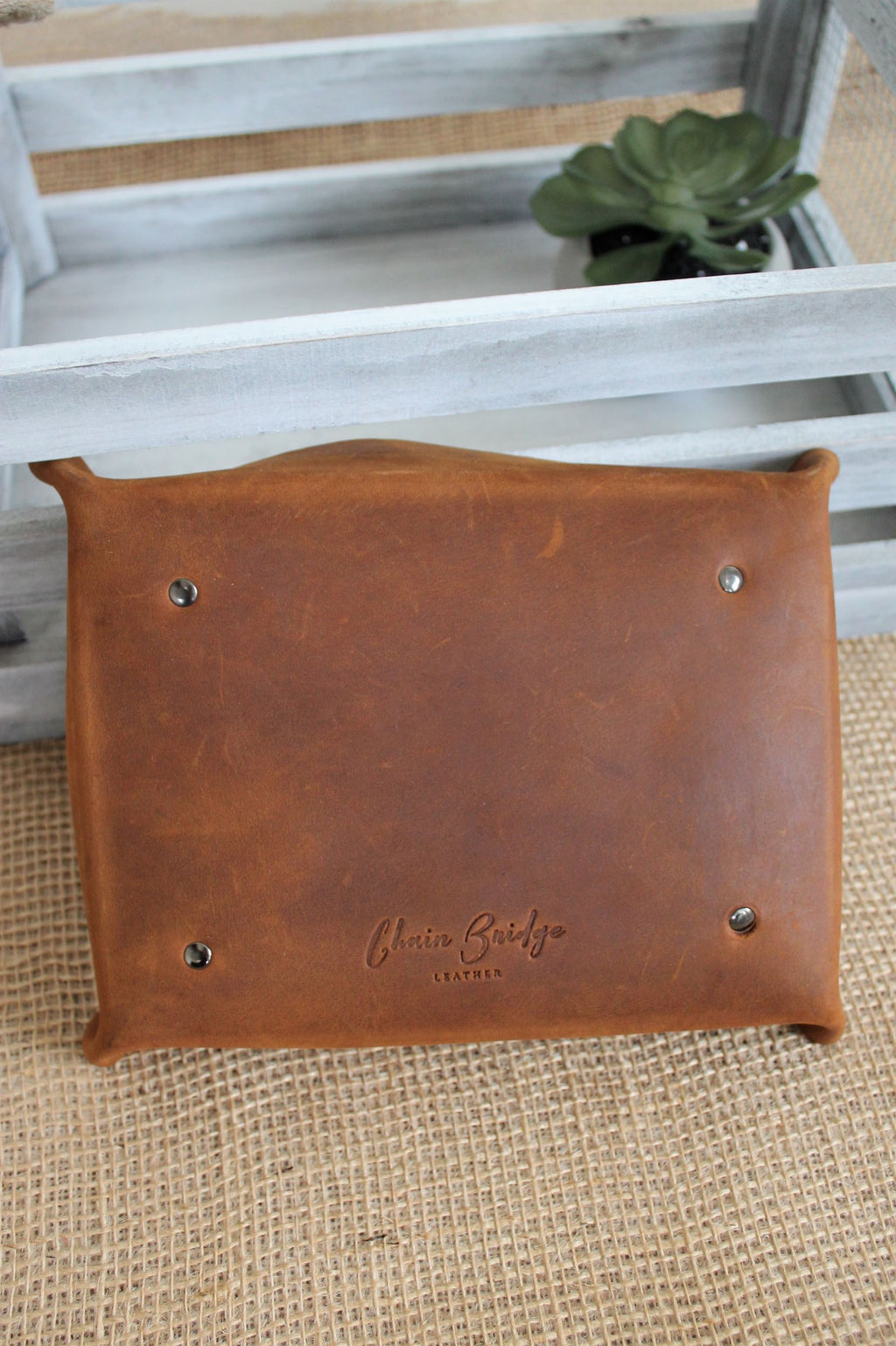 Personalized Leather Gifts for Him: Monogram Personalized Large Leather Valet Tray