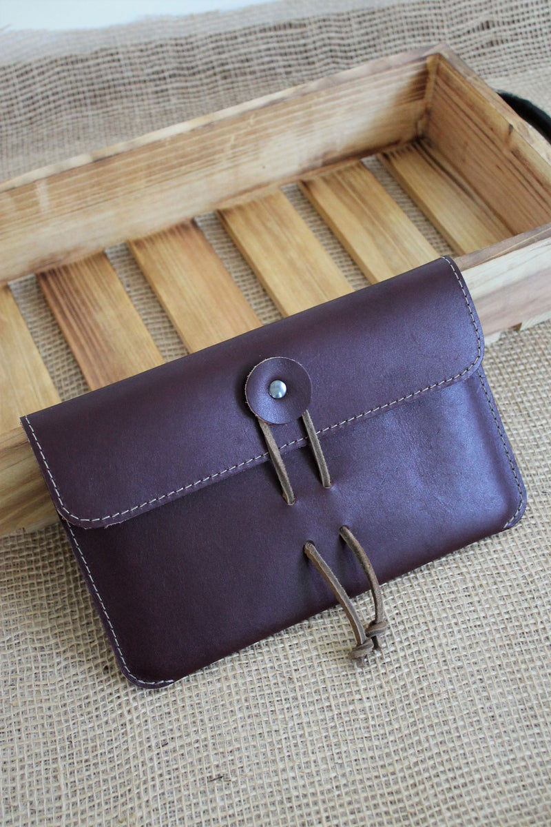 Leather store: Monogrammed Burgundy Leather iPad Sleeve