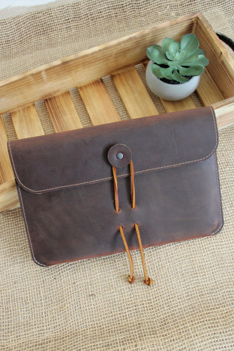 Leather store: Monogrammed Cognac Leather MacBook Case