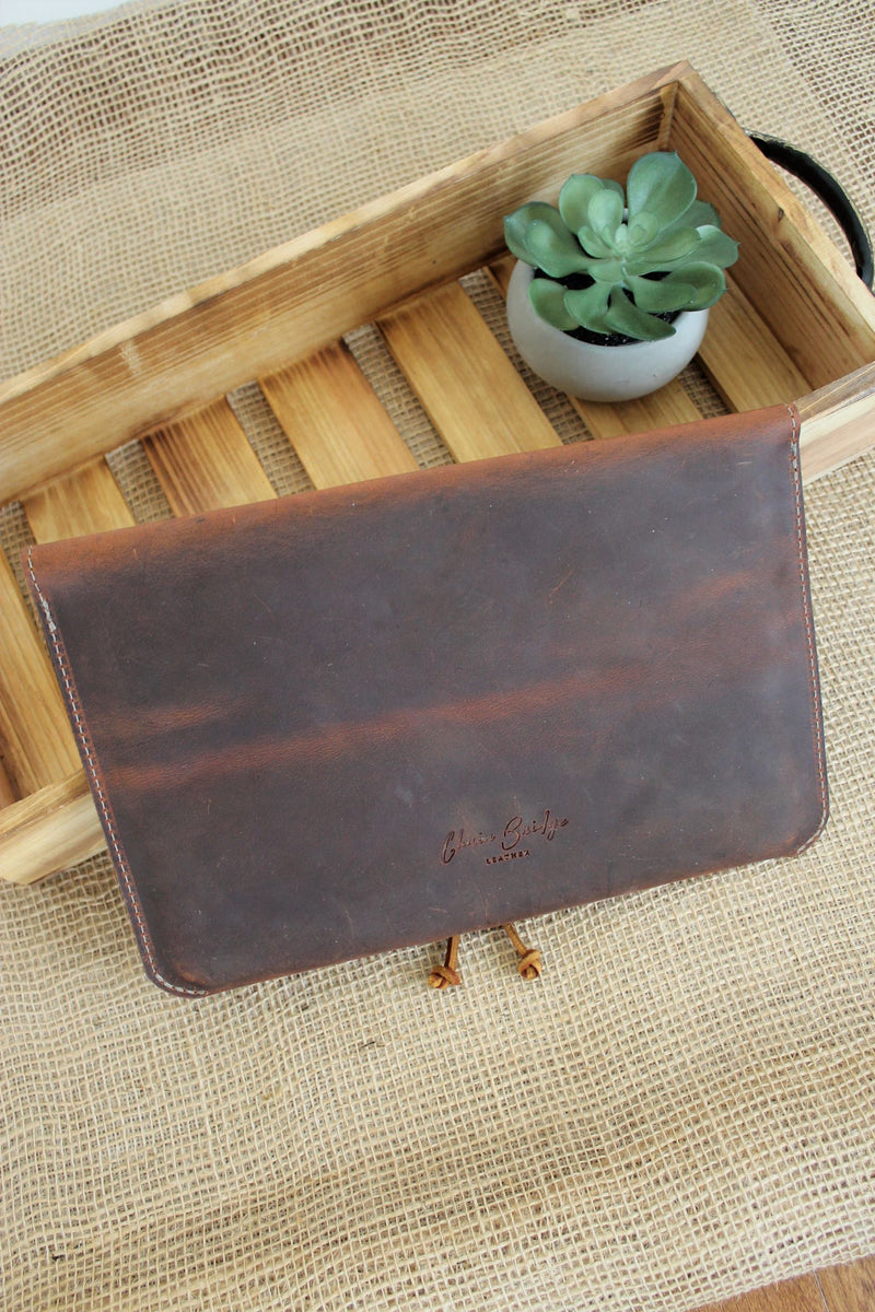 Monogrammed Cognac Leather iPad Sleeve