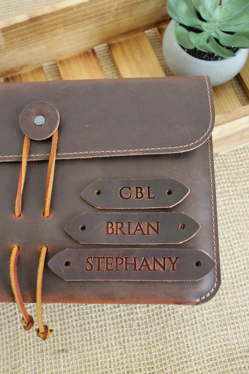 Personalized Leather Gifts for Her: Monogrammed Leather iPad Sleeve