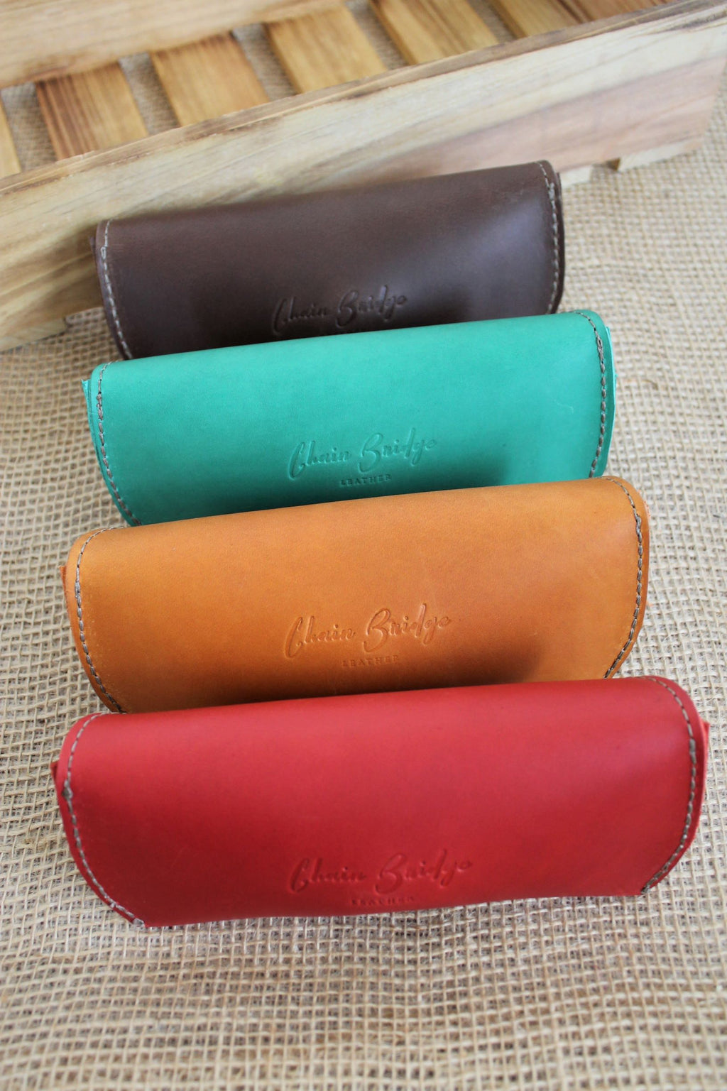 Monogrammed leather sunglass case glasses holder