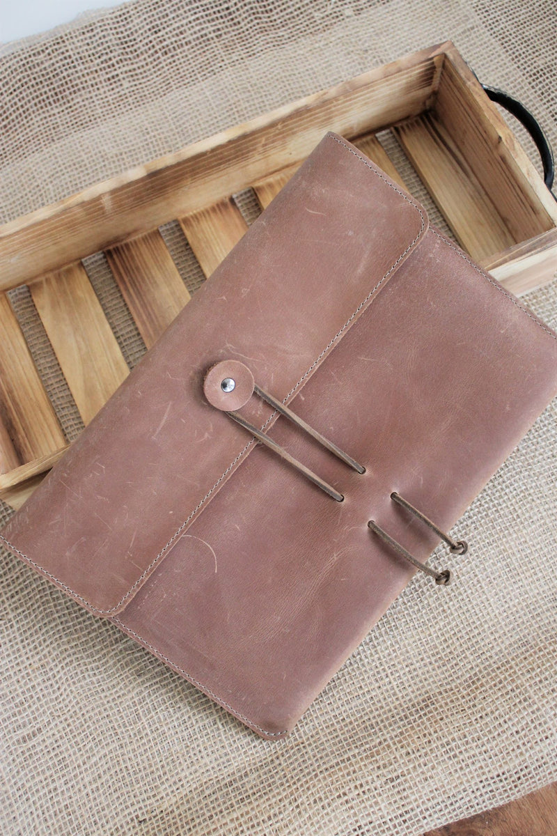 Leather store: Monogrammed Sable Leather iPad Sleeve