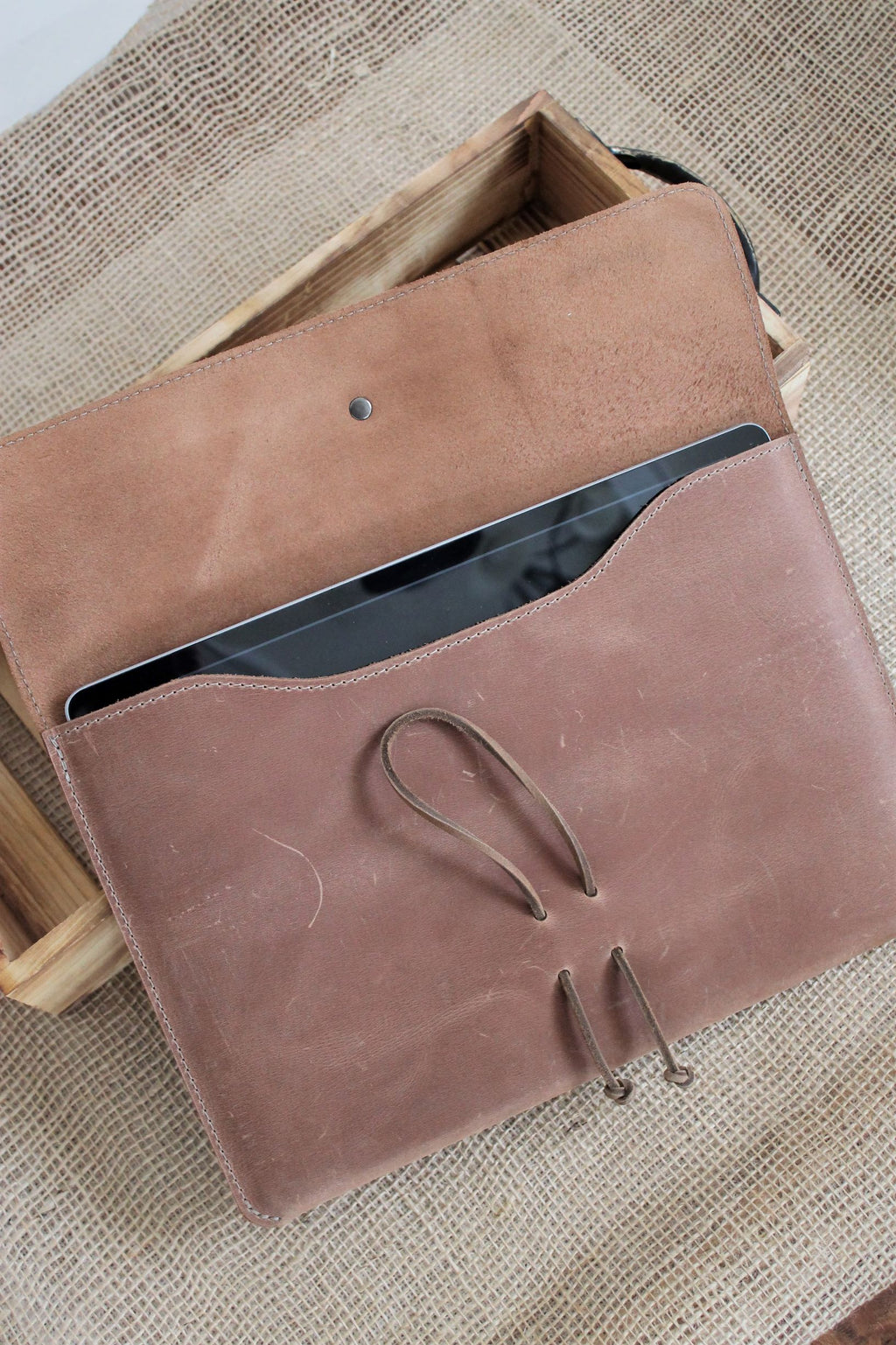 Monogrammed Sable Leather iPad Sleeve