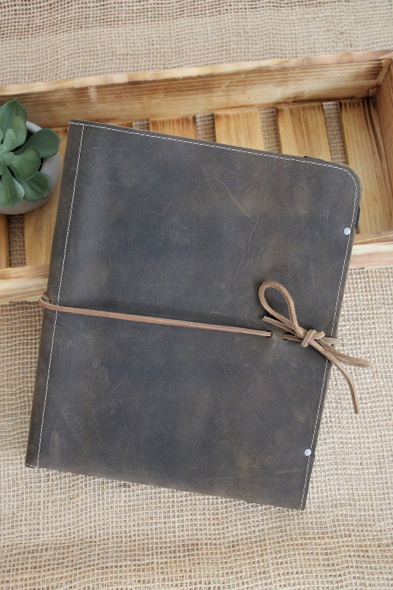 Monogrammed Distressed Brown Leather iPad Case - available in Sable, Saddle Brown, Distressed Brown, Cognac, Chocolate Brown, Burgundy with Brown or Burgundy with Black