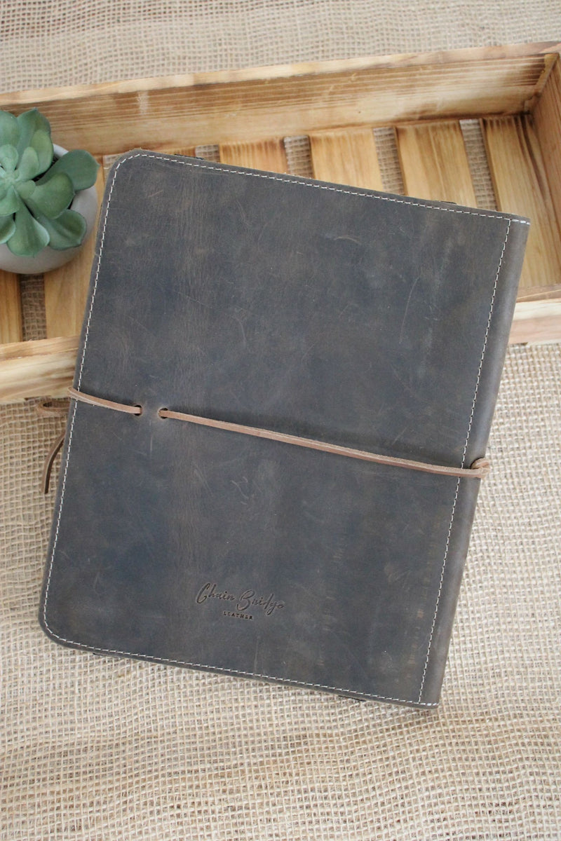 Monogrammed Distressed Brown Leather iPad Case
