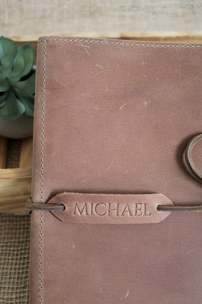Monogrammed Sable Leather iPad Case
