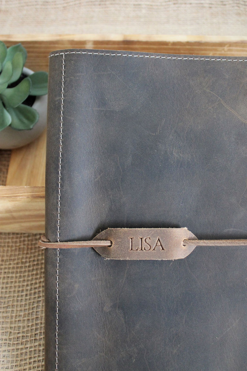 Personalized Leather Gifts for Her: Monogrammed Distressed Brown Leather iPad Case