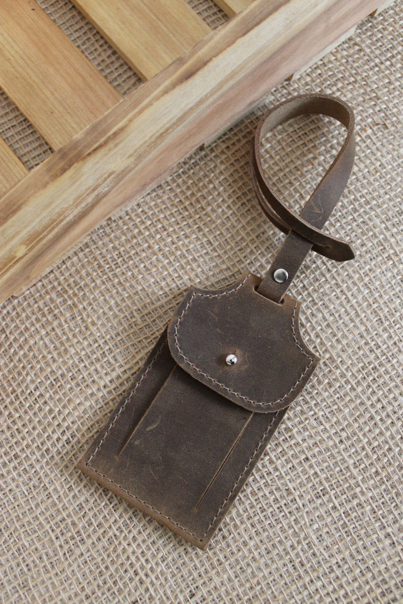 Monogrammed Distressed Brown Leather Luggage Tag