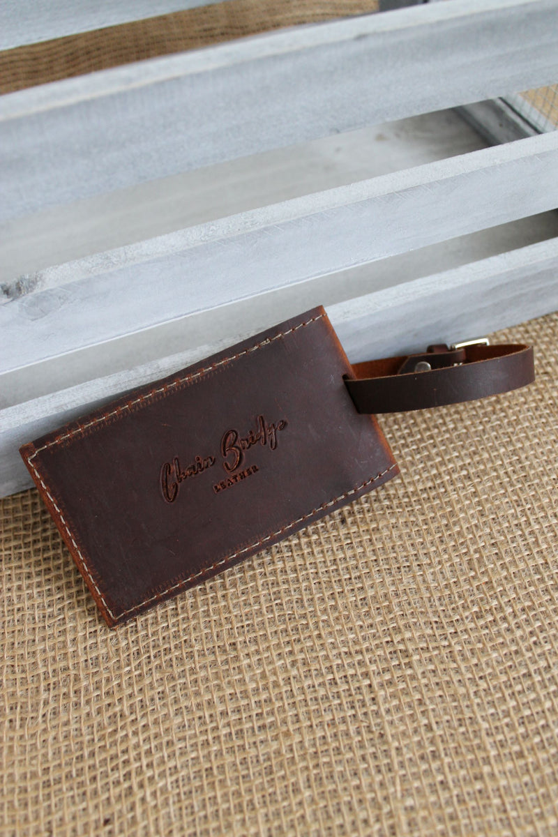 Monogrammed Cognac Leather Luggage Tag