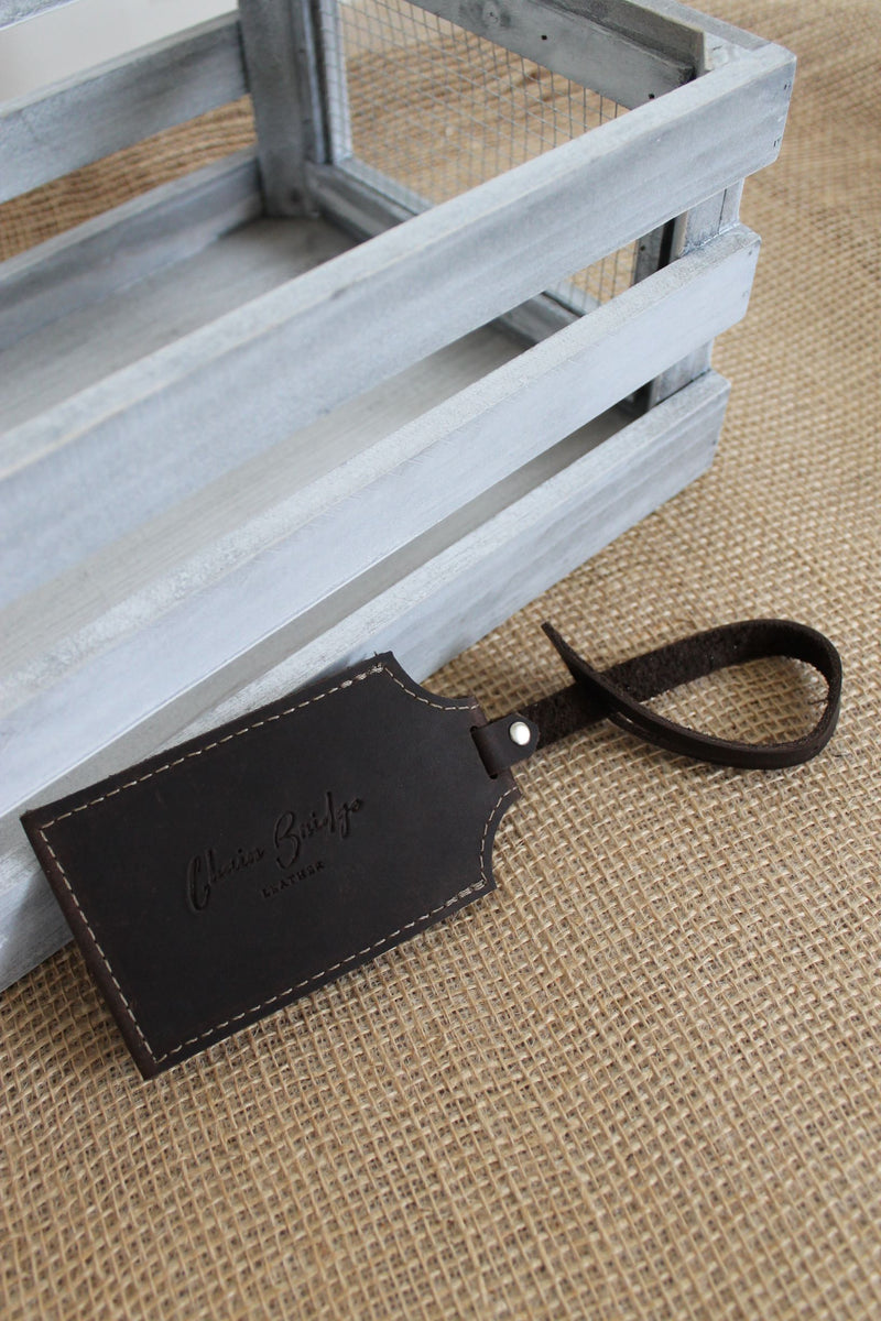 Monogrammed Chocolate Brown Leather Luggage Tag