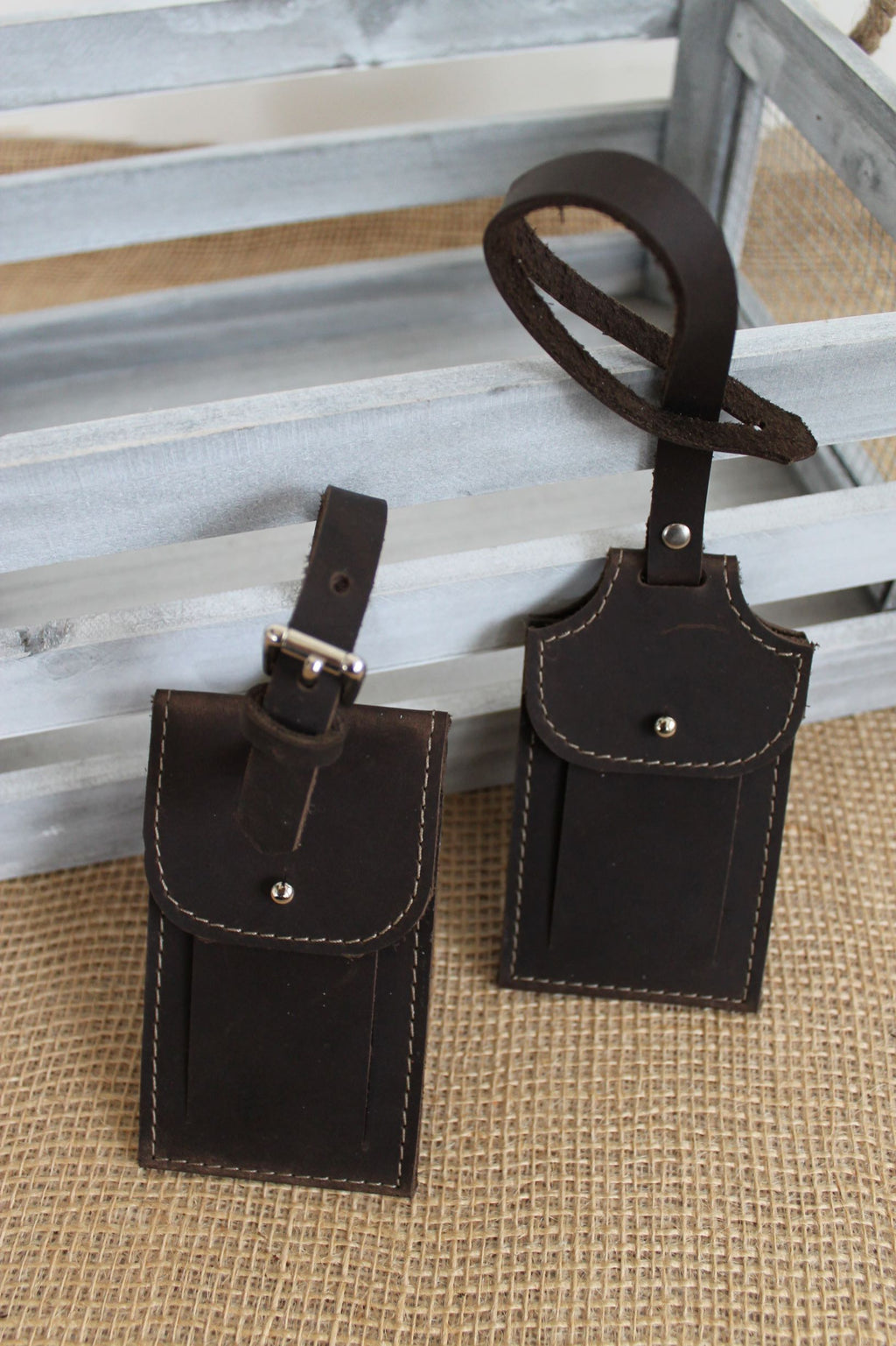 Monogrammed Chocolate Brown Leather Luggage Tag- available in chocolate brown