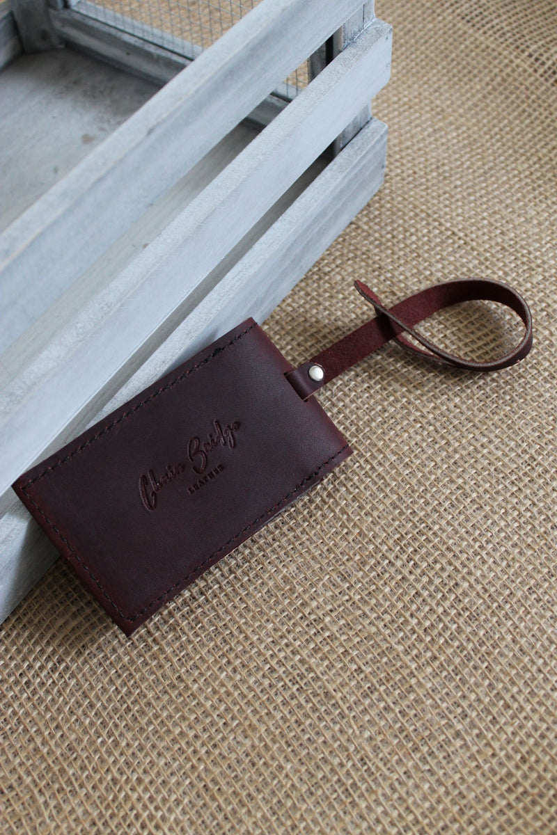 Monogrammed Burgundy Leather Luggage Tag