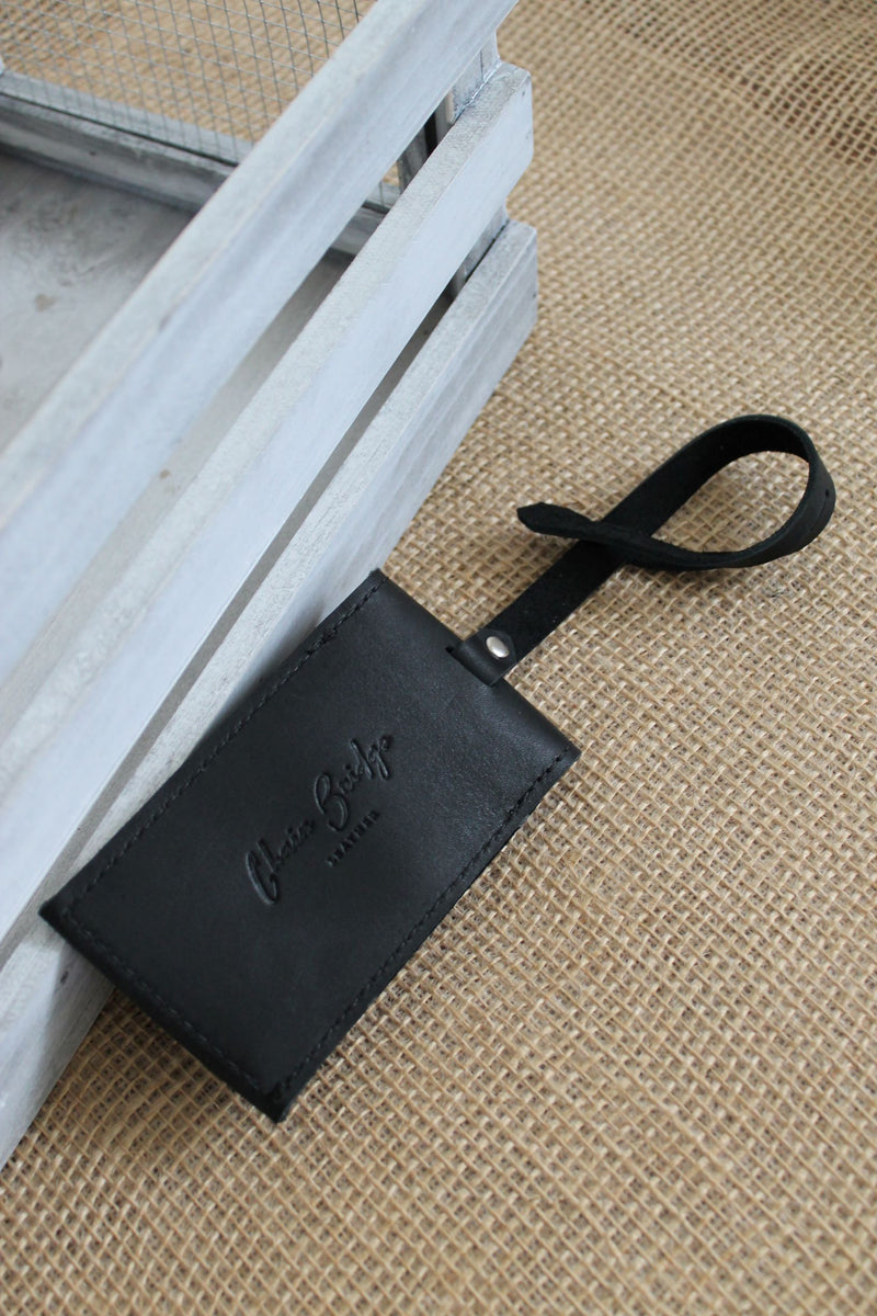 Monogrammed Black Leather Luggage Tag