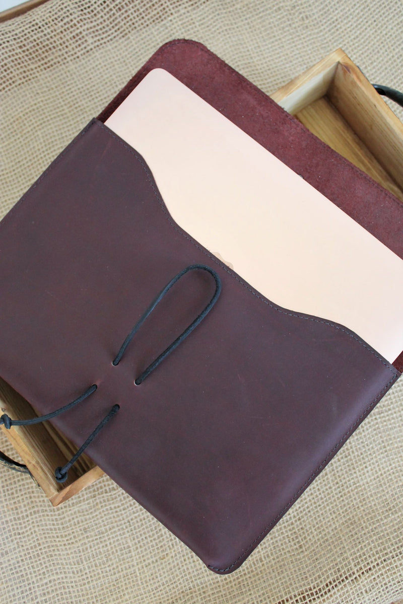 Leather store: Monogrammed Burgundy Leather MacBook Air Sleeve