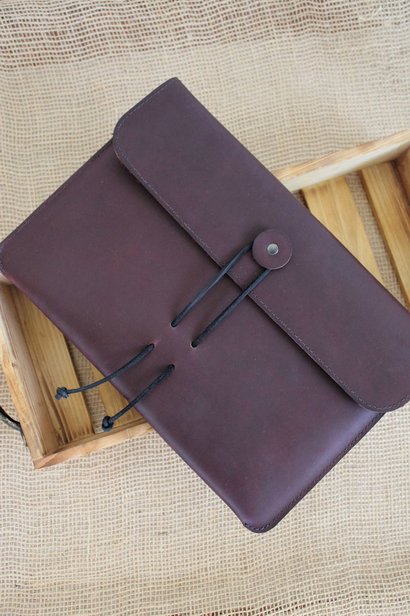 Monogrammed Burgundy Leather MacBook Air Sleeve